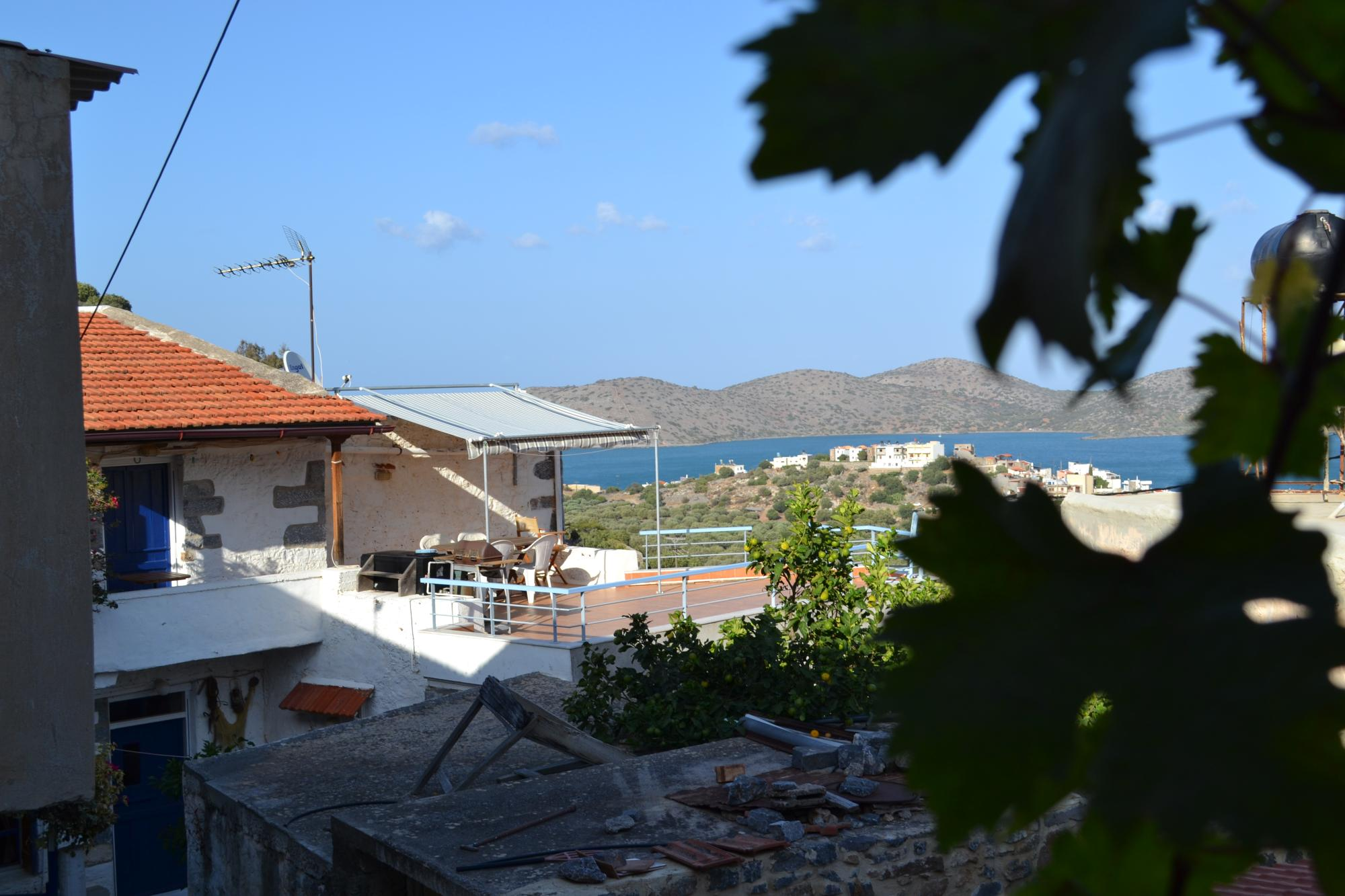 3 bed cottage with amazing sea views and nice courtyard.  Elounda.