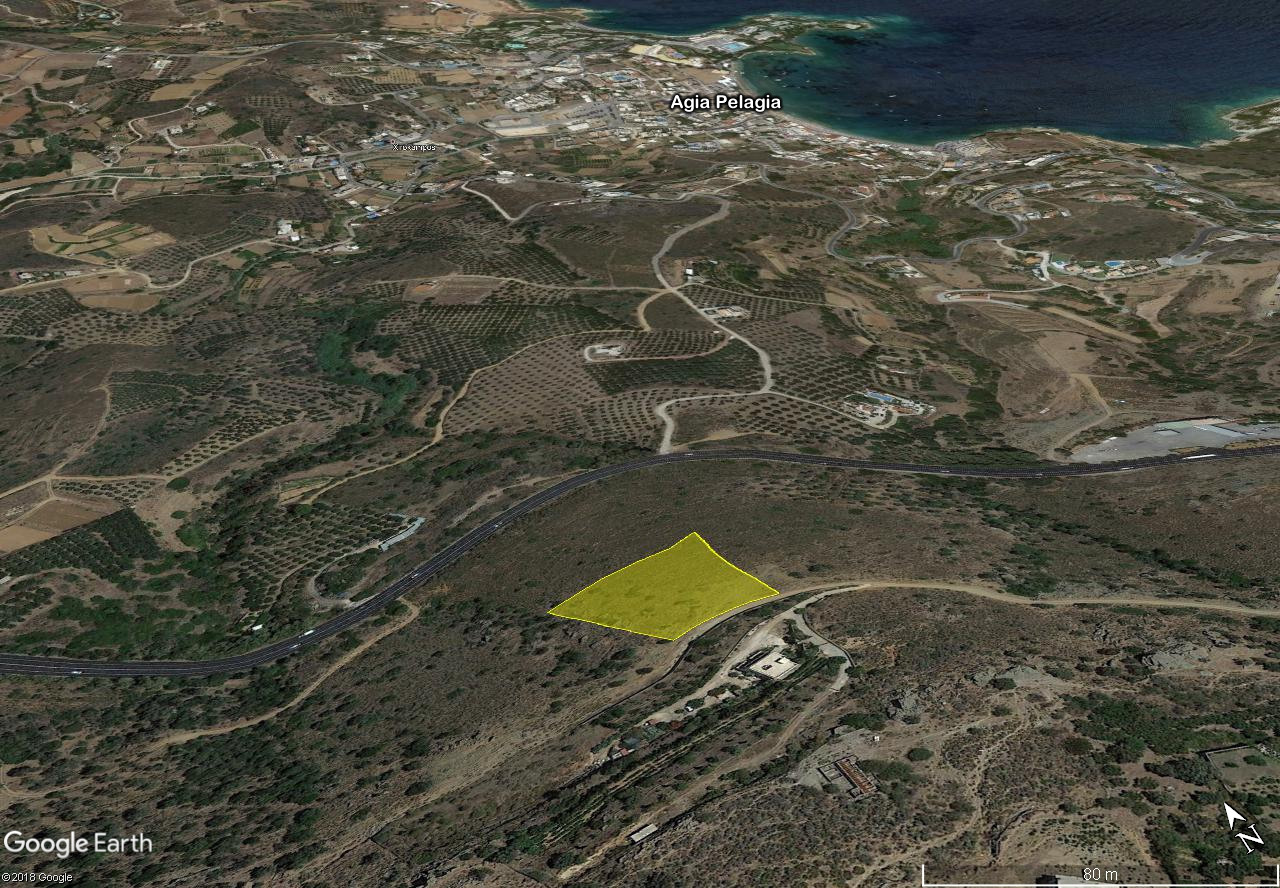 Plot of seaview building land in Agia Pelagia, Heraklion