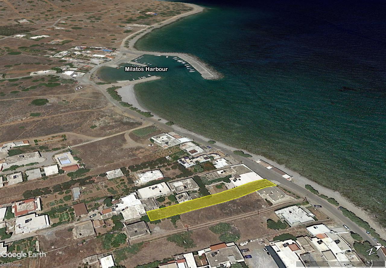 Seafront stripe of land, 591 m2, in Milatos Beach, Crete