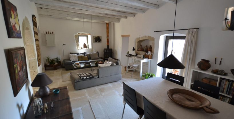 Masterfully renovated 3 bed stone house in traditional village. Sea view roof terrace.