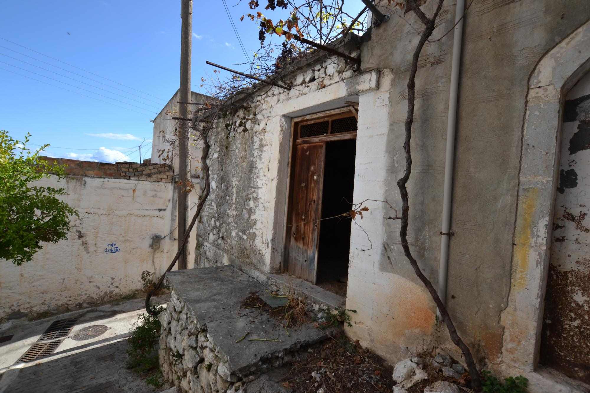 Corner stone house for renovation in Kritsa. Roof Terrace.