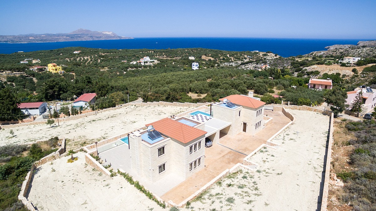Two stone villas with pool and sea views, in popular location near Chania