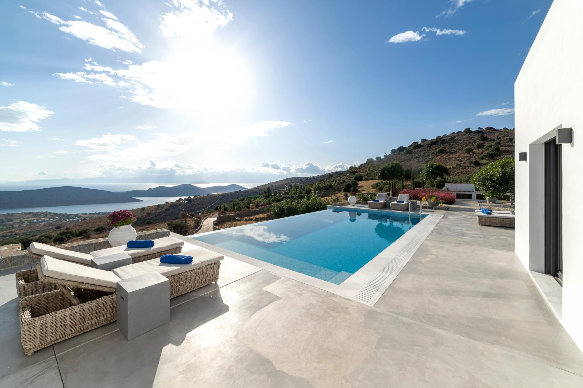Luxury single storey villa with pool, overlooking the island Spinalonga