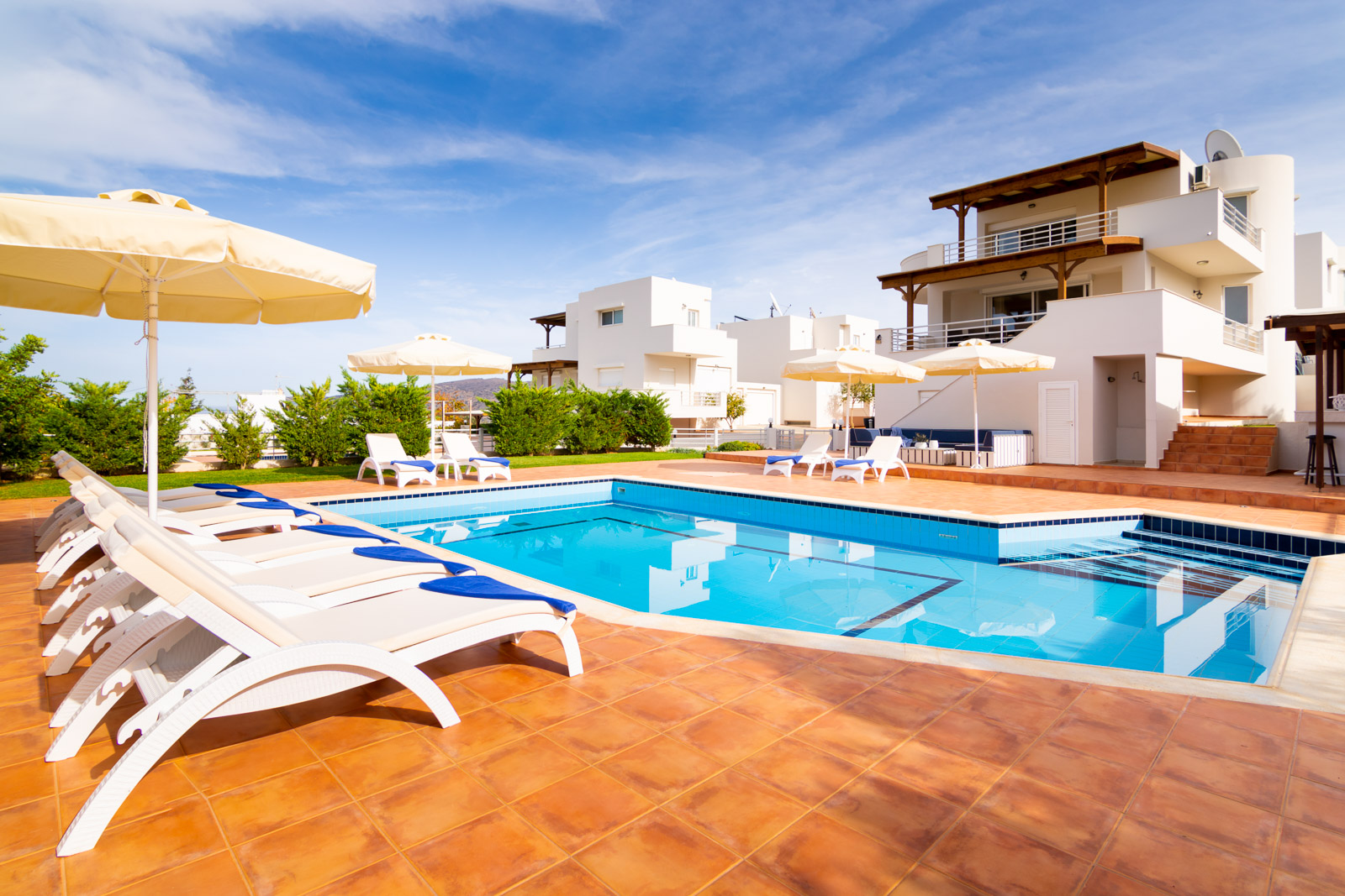 Two villas with private pools and gardens. Sold together